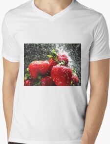 Strawberry Splatter Mens V-Neck T-Shirt