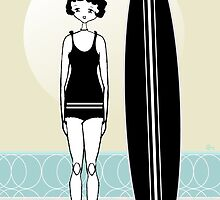 1920s Surfer Flapper Gatsby Girl at the Beach by CecelyBloom
