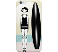 1920s Surfer Flapper Gatsby Girl at the Beach iPhone Case/Skin