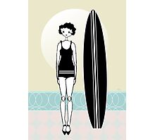 1920s Surfer Flapper Gatsby Girl at the Beach Photographic Print