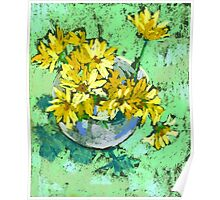 Yellow flowers in a vase Poster