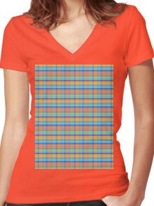 blue orange plaid Women's Fitted V-Neck T-Shirt