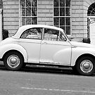 Morris Minor 1000 vintage British motor car parked on a hill in Bath England  by RedSteve
