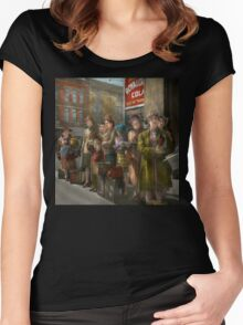 People - People waiting for the bus - 1943 Women's Fitted Scoop T-Shirt
