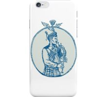 Scotsman Bagpiper Playing Bagpipes Etching iPhone Case/Skin