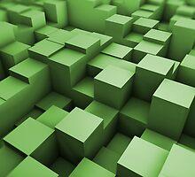 Green cubes field by Luigi De Frenza