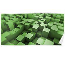 Green cubes field Poster