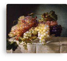 Still life with grapes in a porcelain dish (c. 1850 Austria) by Colnaghi Canvas Print