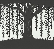 Print of handcut willow tree papercutting by amoeba-b