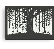 Print of handcut willow tree papercutting Canvas Print