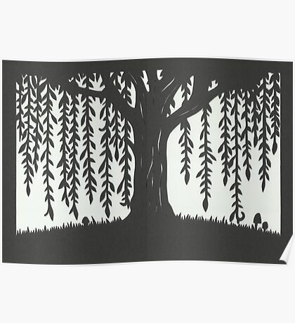 Print of handcut willow tree papercutting Poster