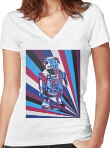 Robot No1 Women's Fitted V-Neck T-Shirt