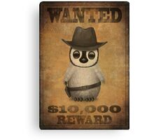 Cute Baby Penguin Cowboy Vintage Wanted Poster Canvas Print