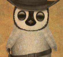 Cute Baby Penguin Cowboy Vintage Wanted Poster Sticker