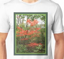 red tree in green background Unisex T-Shirt