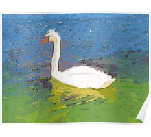 Floating swan abstract Poster