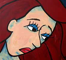 Sad Girl Expressive Abstract Portrait by Pamela Burger