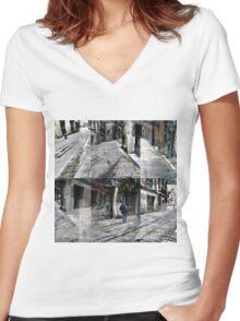 CAM02127-CAM02130_GIMP_B Women's Fitted V-Neck T-Shirt