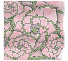 Pink Flower Collage Pattern Poster