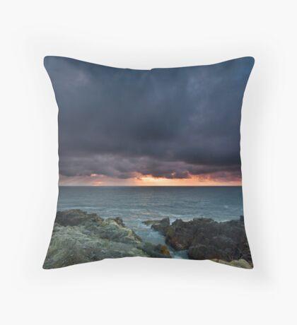 Stormy Sunrise Louisbourg Nova Scotia Canada Throw Pillow