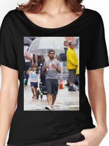 aziz ansari walking in rain with umbrella  Women's Relaxed Fit T-Shirt