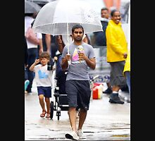 aziz ansari walking in rain with umbrella  Unisex T-Shirt