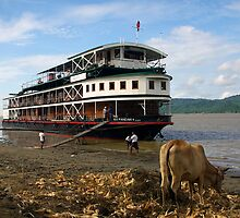 The 'Pandaw IV' moored on the upper Irrawaddy River, Burma by John Mitchell