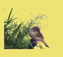 Young sparrow looking for seeds Kids Clothes