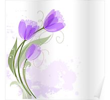 Purple Abstract Watercolor Tulips Poster