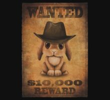 Cute Baby Bunny Cowboy Vintage Wanted Poster Kids Clothes