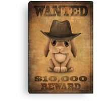 Cute Baby Bunny Cowboy Vintage Wanted Poster Canvas Print