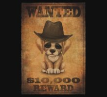 Cute Puppy Dog Cowboy Vintage Wanted Poster Kids Tee
