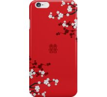 White Sakura Cherry Blossoms on Red and Chinese Wedding Double Happiness iPhone Case/Skin