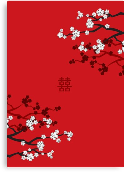 White Sakura Cherry Blossoms on Red and Chinese Wedding Double Happiness by fatfatin