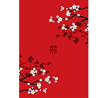 White Sakura Cherry Blossoms on Red and Chinese Wedding Double Happiness Photographic Print