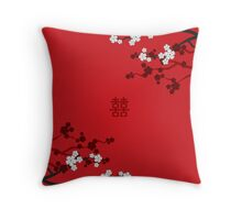 White Sakura Cherry Blossoms on Red and Chinese Wedding Double Happiness Throw Pillow