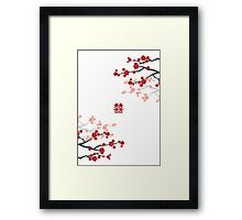 Red Sakura Cherry Blossoms on White & Chinese Wedding Double Happiness Symbol Framed Print