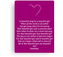 Beautiful Word For Girl Canvas Print