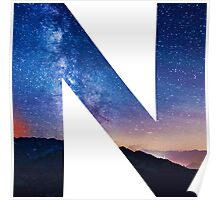 The Letter N - night sky Poster