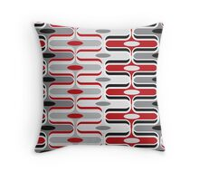 Retro Mod Curves Red and Black Abstract Pod Pattern Throw Pillow