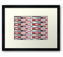 Retro Mod Curves Red and Black Abstract Pod Pattern Framed Print