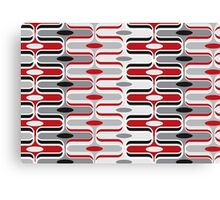 Retro Mod Curves Red and Black Abstract Pod Pattern Canvas Print