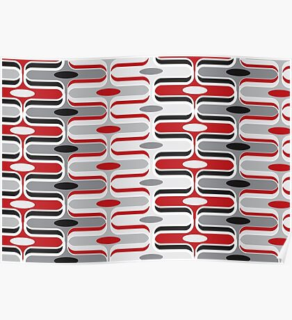 Retro Mod Ogee Red & Black Abstract Pod Pattern Poster