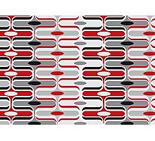 Retro Mod Curves Red and Black Abstract Pod Pattern Photographic Print