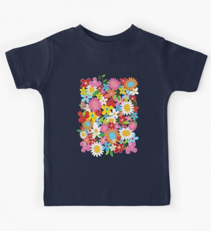 Colorful Whimsical Spring Flowers Garden Kids Tee