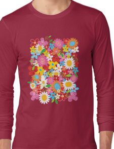 Colorful Whimsical Spring Flowers Garden Long Sleeve T-Shirt