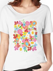 Colorful Whimsical Spring Flowers Garden Women's Relaxed Fit T-Shirt