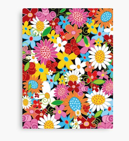 Colorful Whimsical Spring Flowers Garden Canvas Print