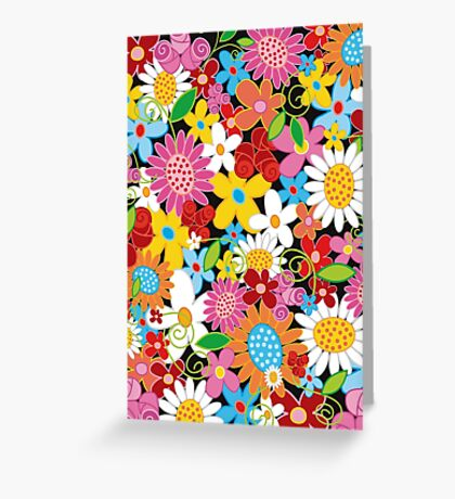 Colorful Whimsical Spring Flowers Garden Greeting Card