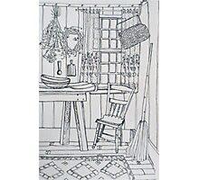 Cottage pen sketch. Elizabeth Moore Golding 1994Ⓒ Photographic Print